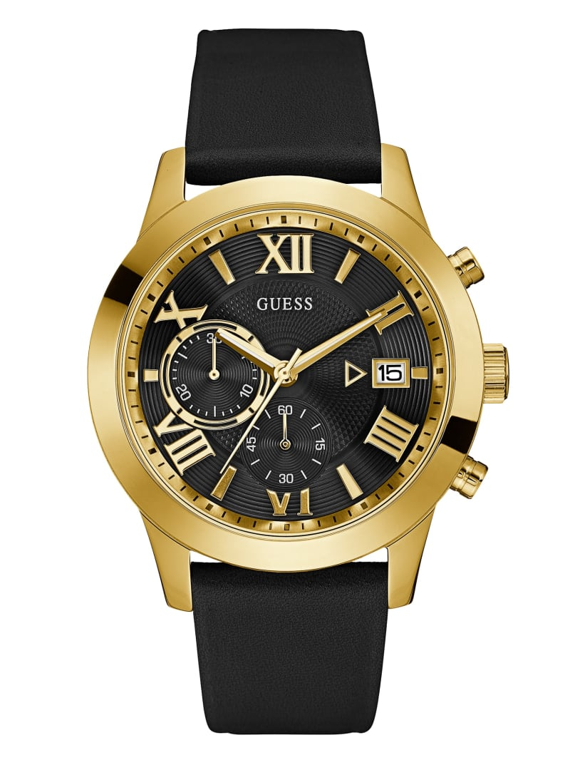 Black Leather and Gold-Tone Watch