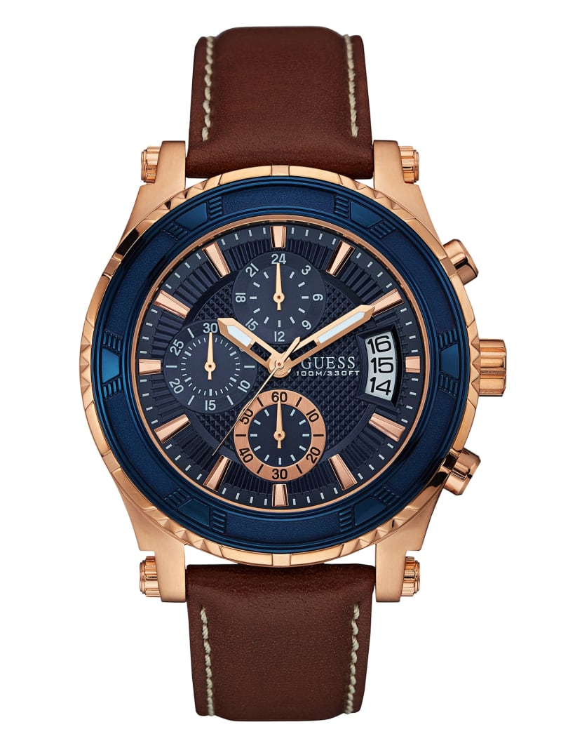 Brown and Rose Gold-Tone Leather Sport Watch