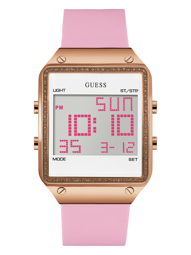 Pink and Rose Gold-Tone Digital Watch
