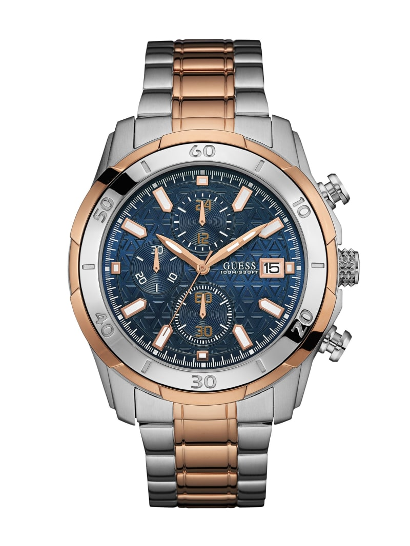 Silver and Rose Gold-Tone Chronograph Watch