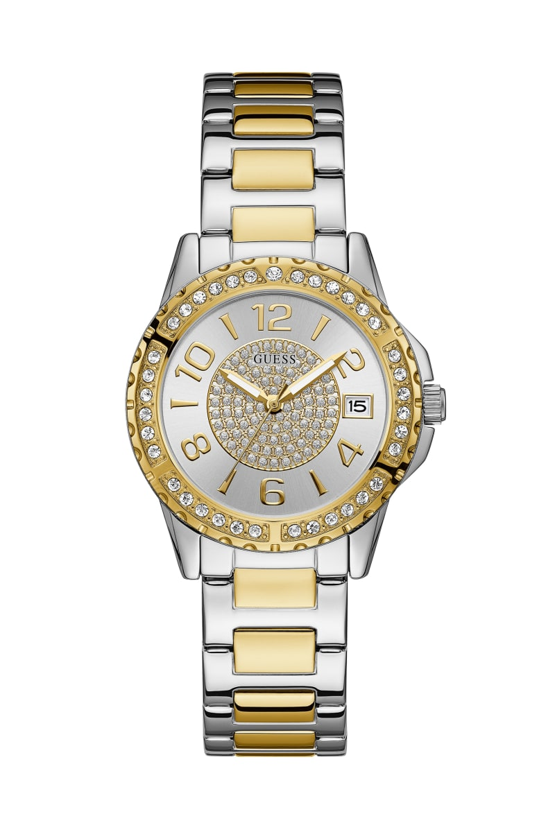 Silver and Gold-Tone Crystal Accent Watch