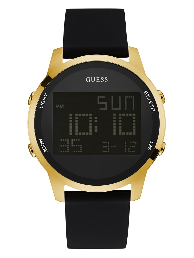 Black and Gold-Tone Digital Chronograph Watch