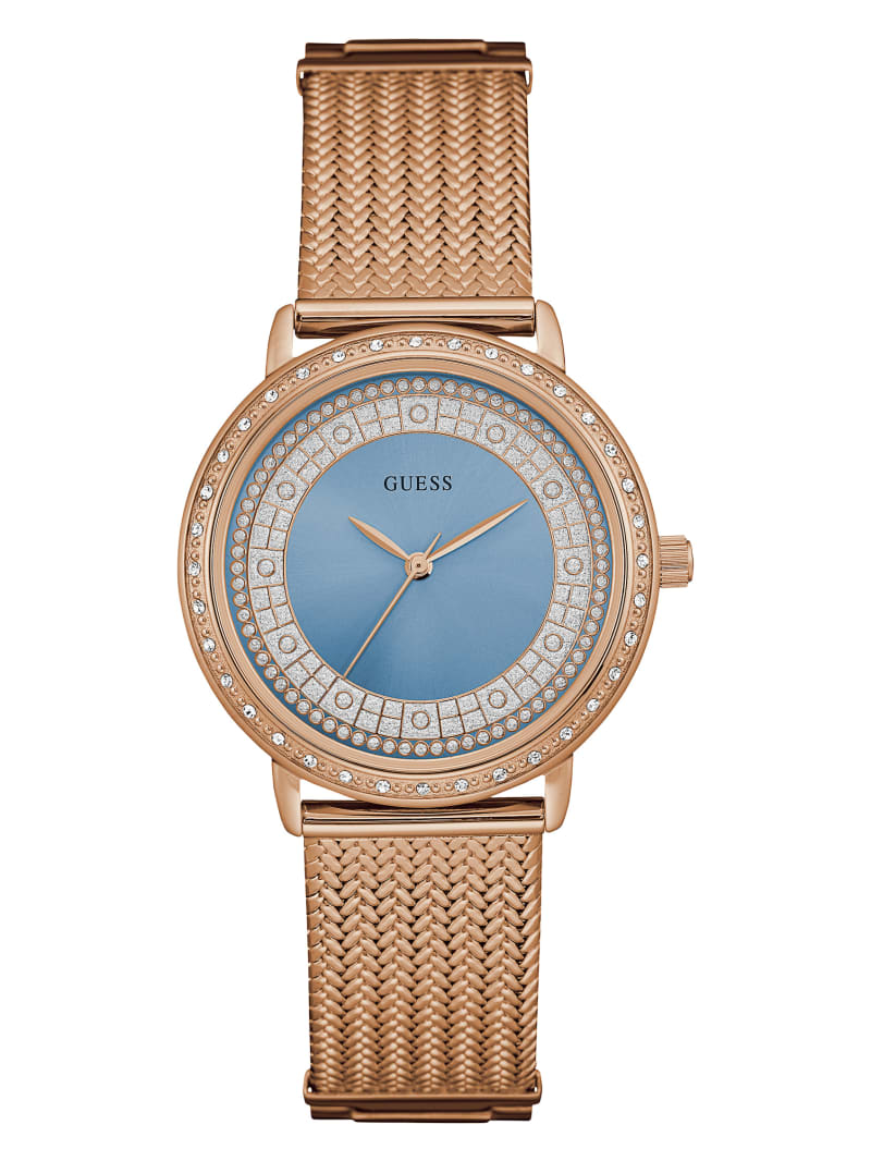 Rose Gold-Tone Crystal Analog Watch