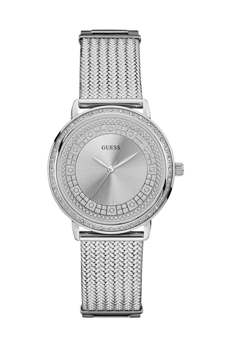 Silver-Tone Crystal Analog Watch