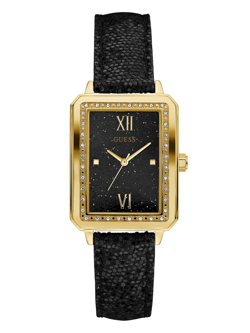 Black and Gold-Tone Rectangle Watch
