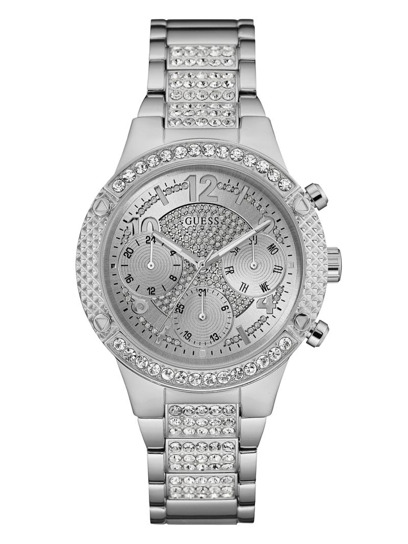 Silver-Tone Glitzy Dress Watch