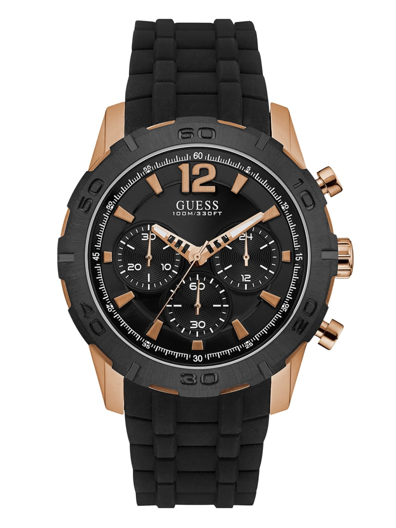Black And Rose Gold-Tone Silicone Watch