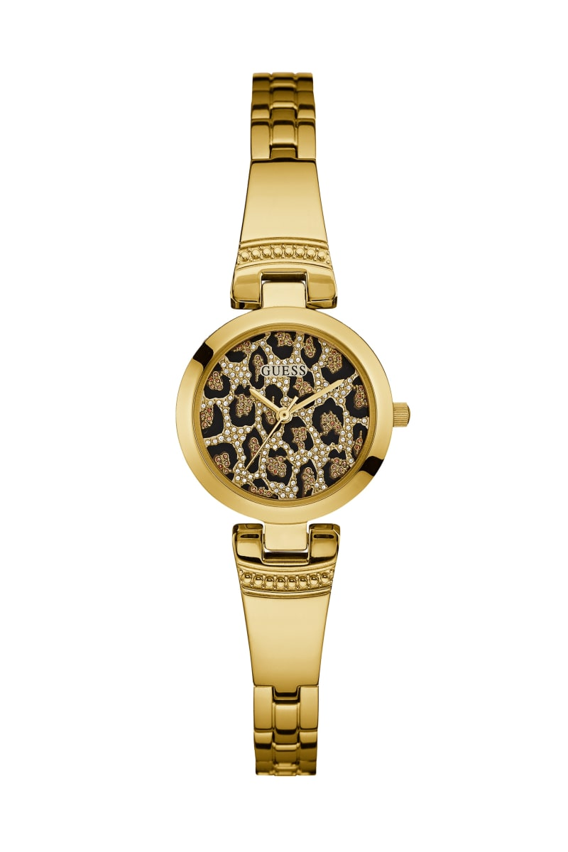 Gold-Tone and Leopard-Print Analog Watch