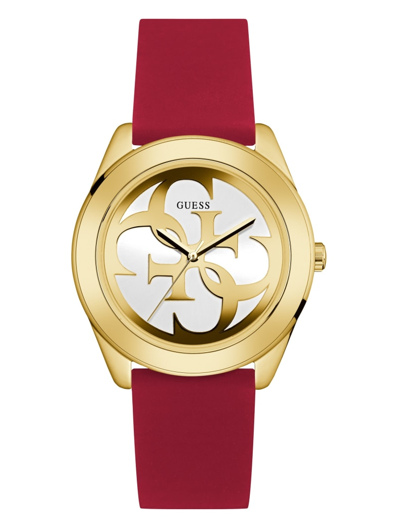 Gold-Tone and Red Logo Analog Watch