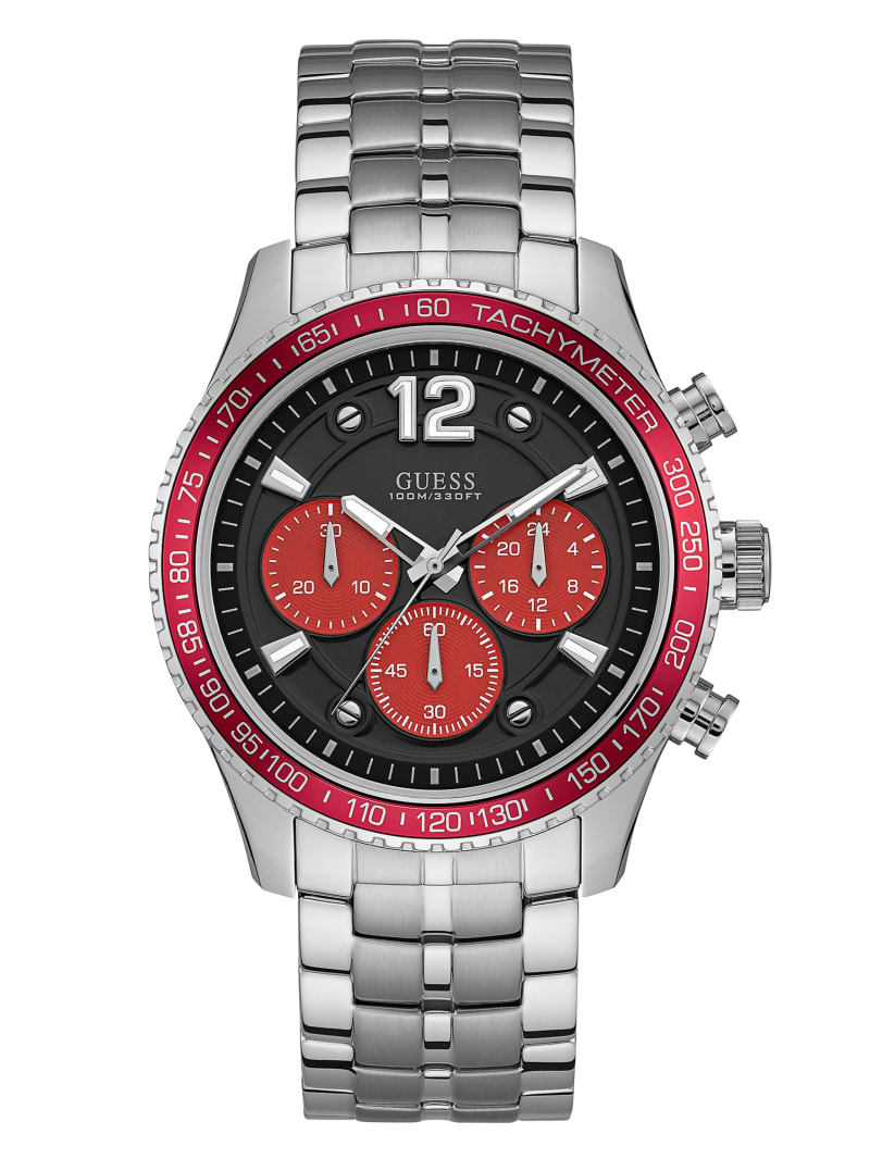 Silver-Tone And Red Chronograph Watch