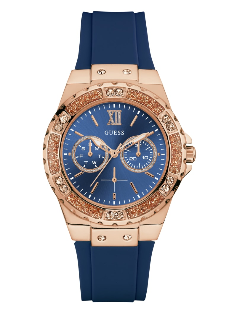 Gold-Tone and Blue Multifunction Watch