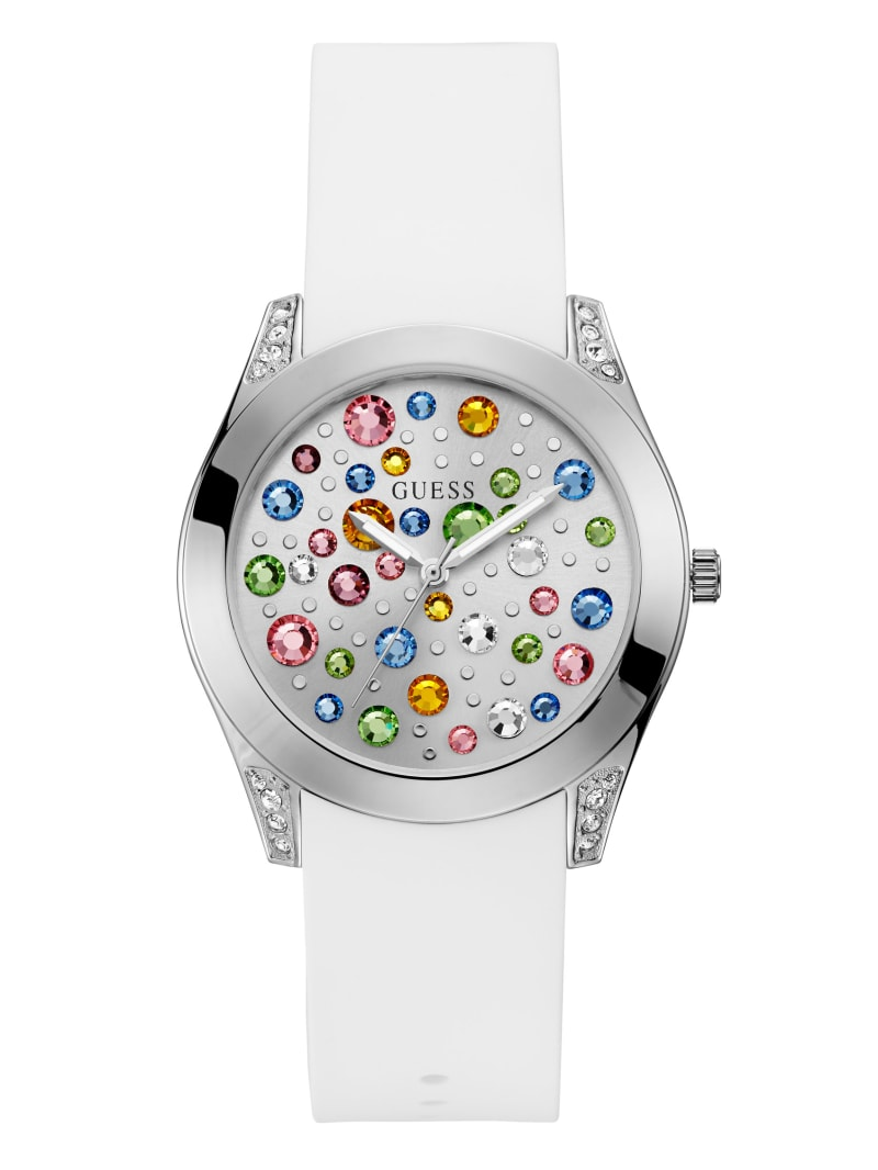 Silver-Tone and White Analog Watch