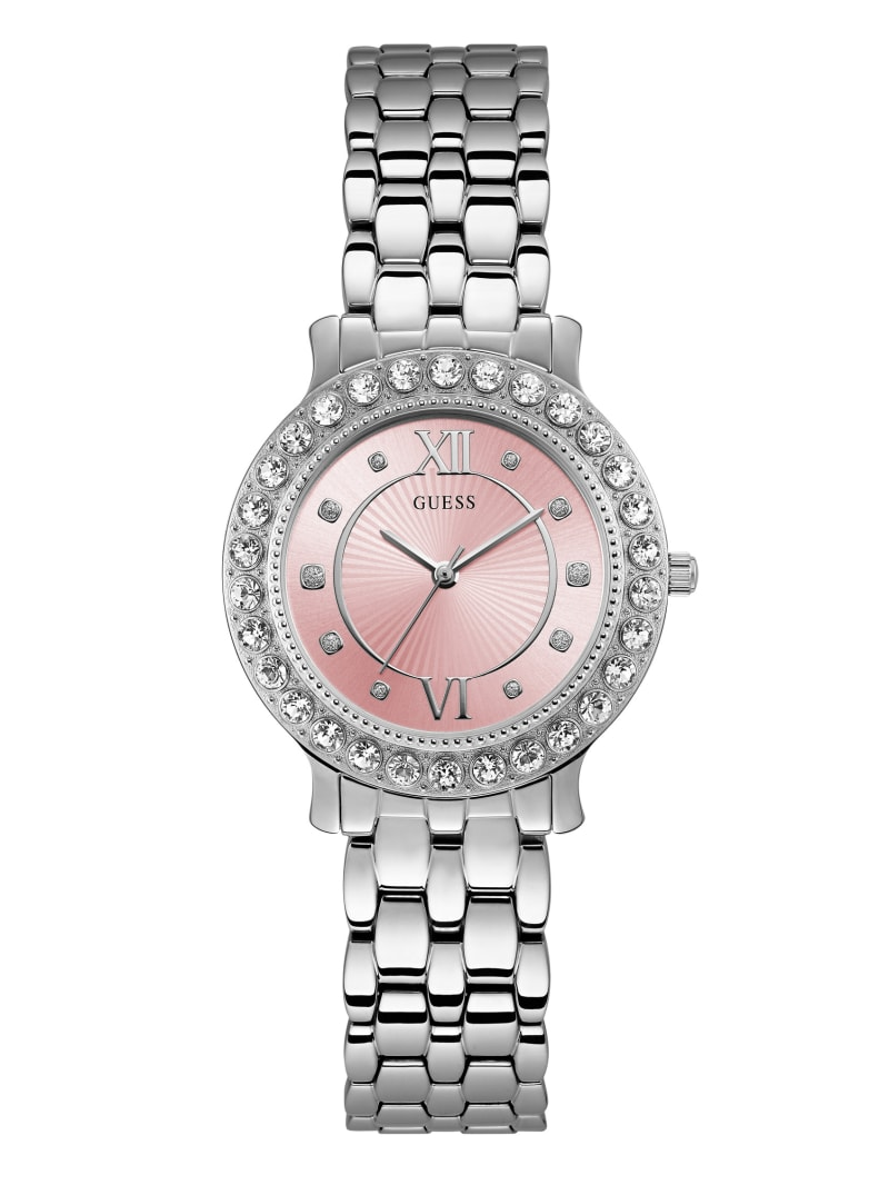 Silver-Tone and Pink Analog Watch