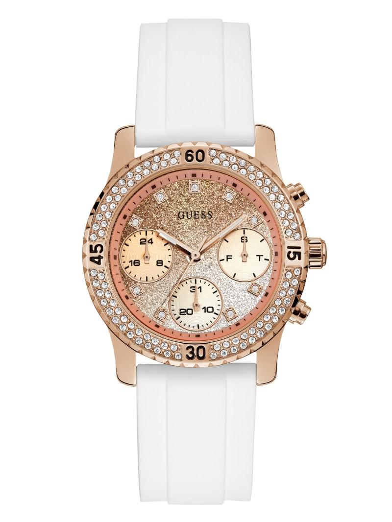 Rose Gold-Tone Glitter Multifunction Watch
