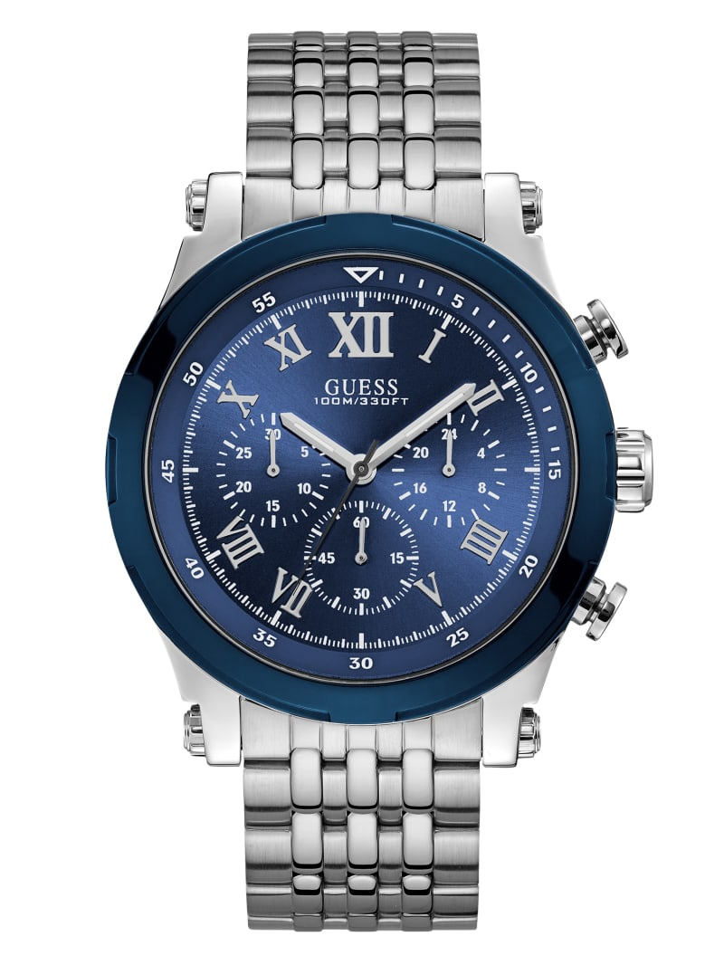 Silver-Tone and Navy Chronograph Watch