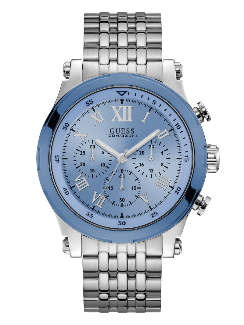 Silver-Tone and Blue Chronograph Watch
