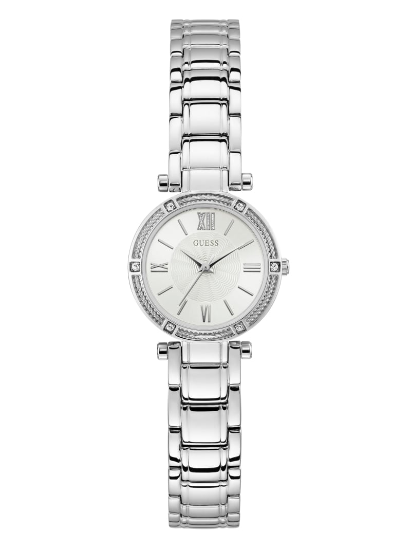 Mini Silver-Tone And White Analog Watch