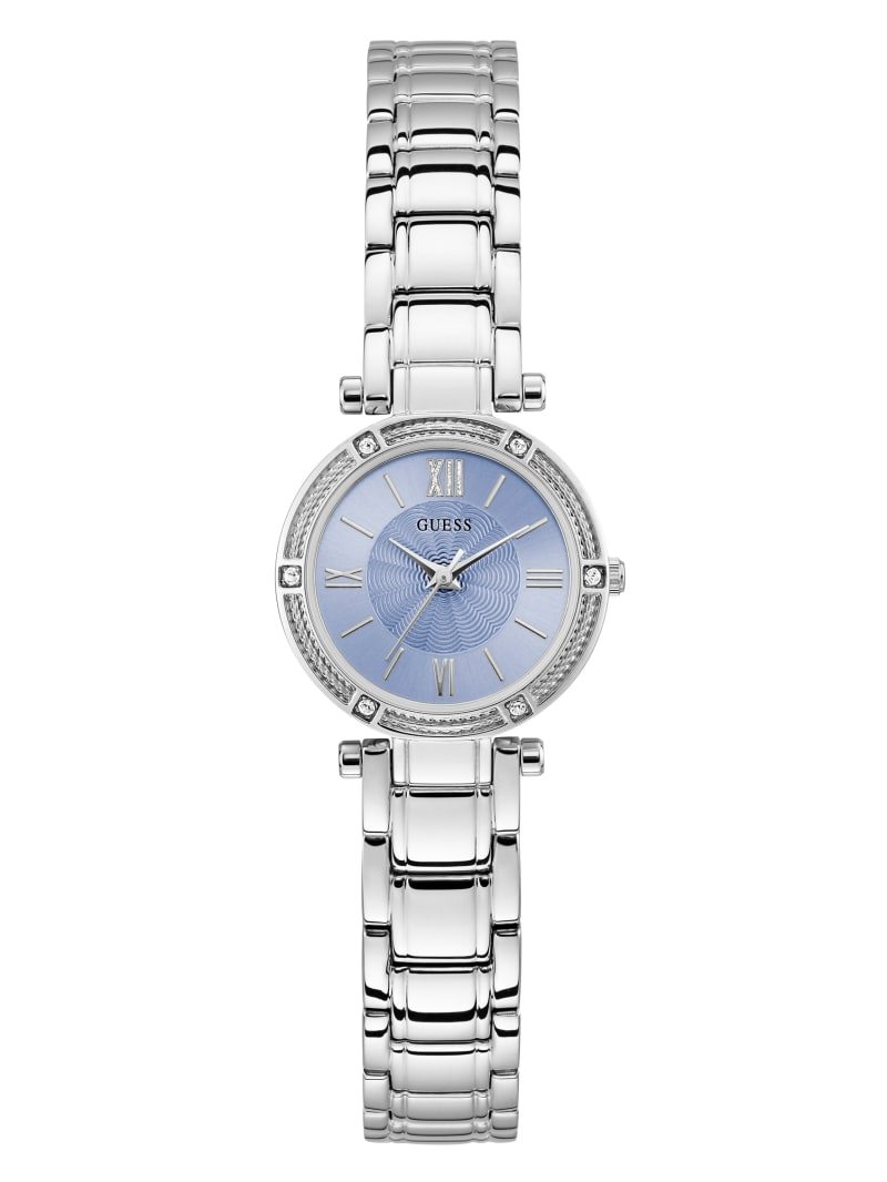 Mini Silver-Tone And Blue Analog Watch