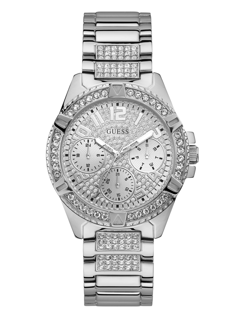 Rhinestone Silver-Tone Multifunction Watch