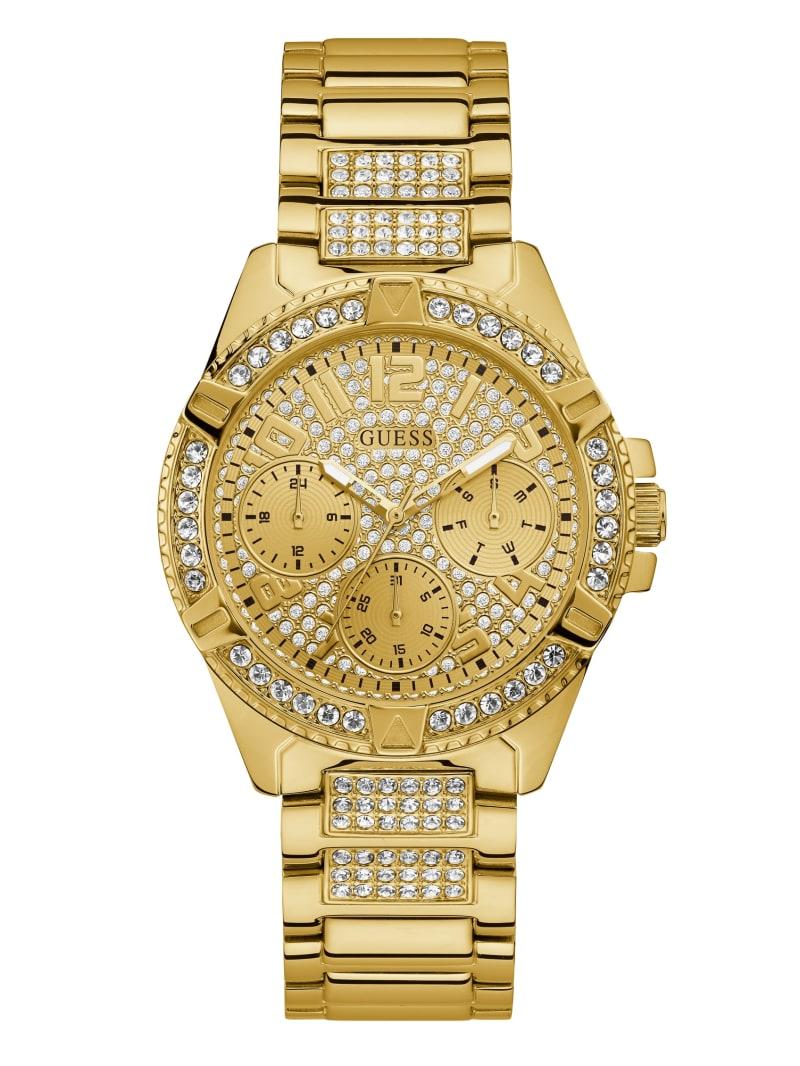 Rhinestone Gold-Tone Multifunction Watch