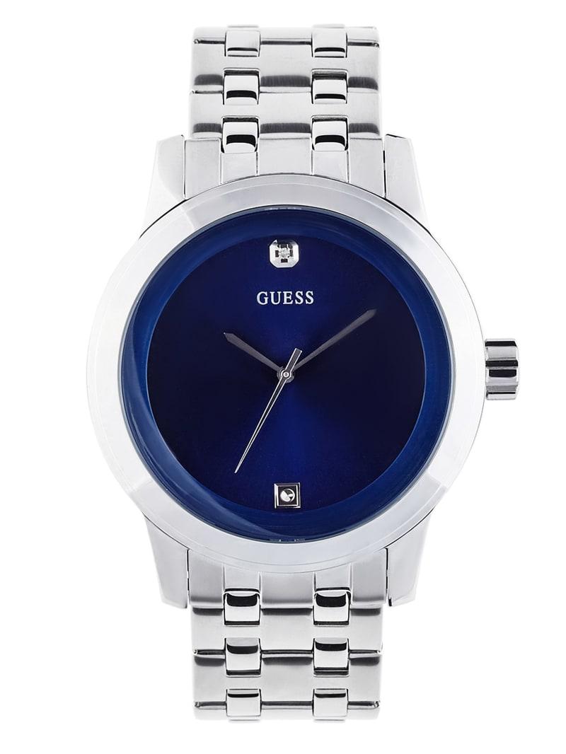 Blue and Silver-Tone Diamond Dress Watch