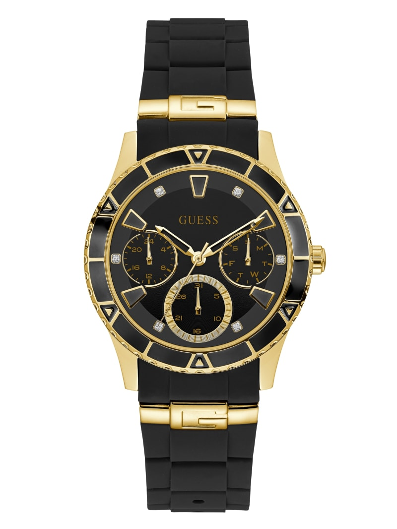 Gold-Tone And Black Enamel Mulifunctional Watch
