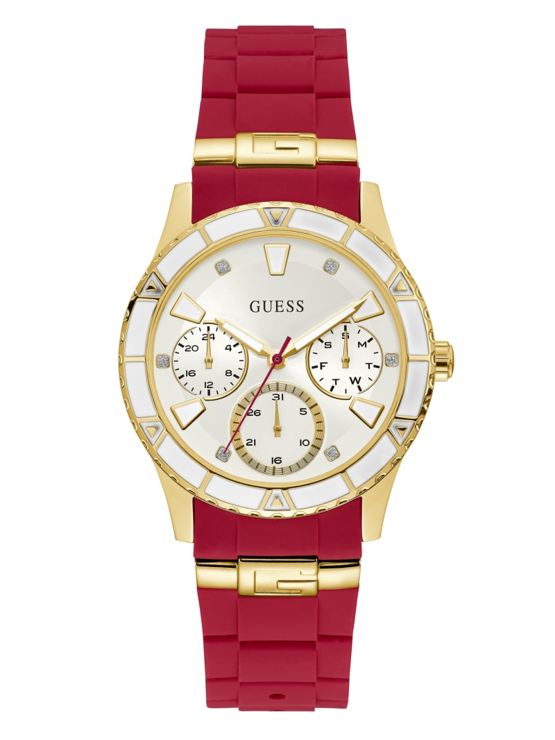 Two-Tone and Red Multifunction Watch