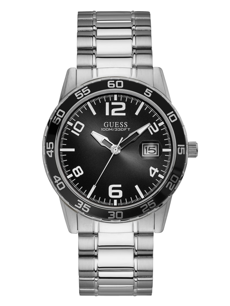 Silver-Tone And Black Dial Analog Watch