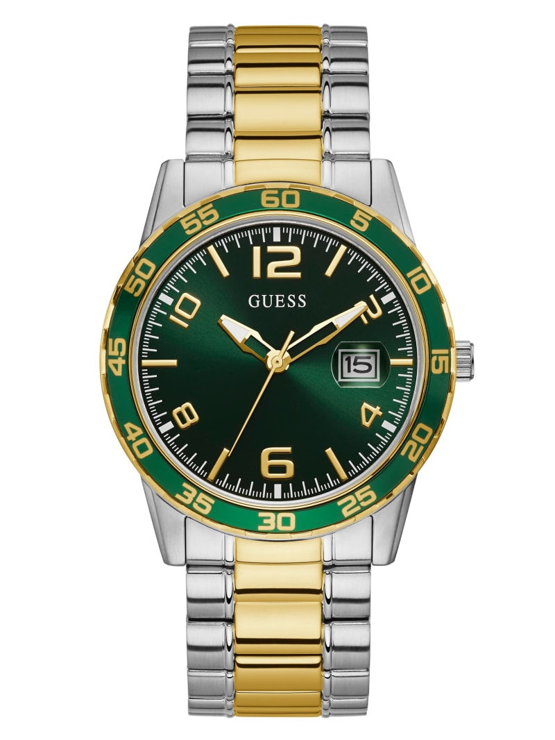 Two-Tone Metal And Green Dial Analog Watch