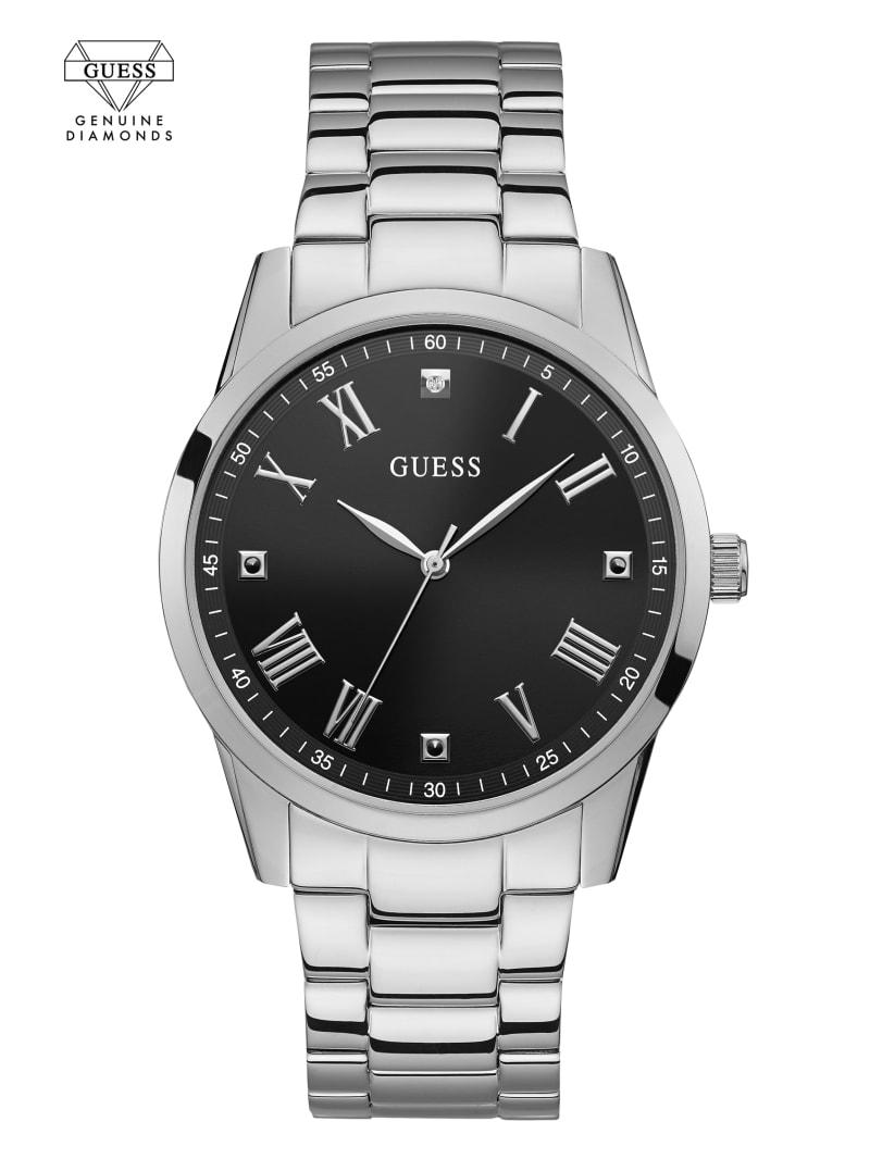 Silver-Tone Diamond Analog Watch