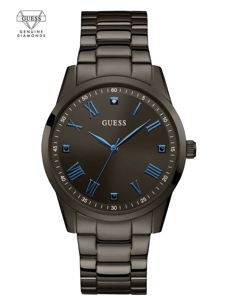 Gunmetal And Blue Analog Watch