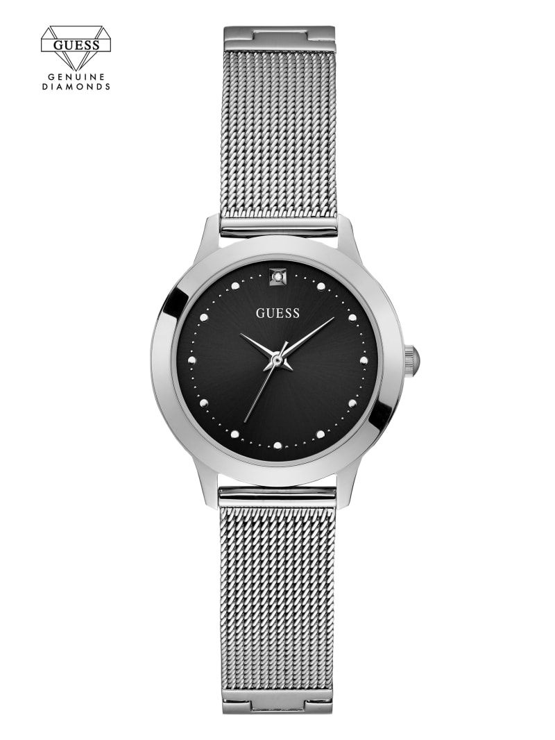 Silver-Tone Analog Diamond Mesh Watch