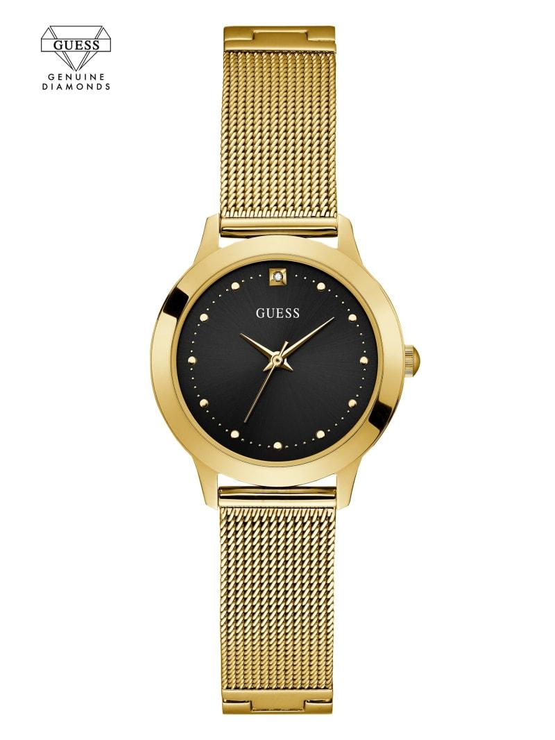 Gold-Tone Diamond Mesh Watch