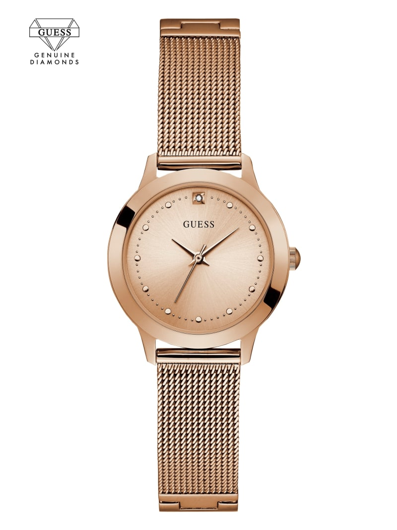 Rose Gold-Tone Diamond Mesh Watch