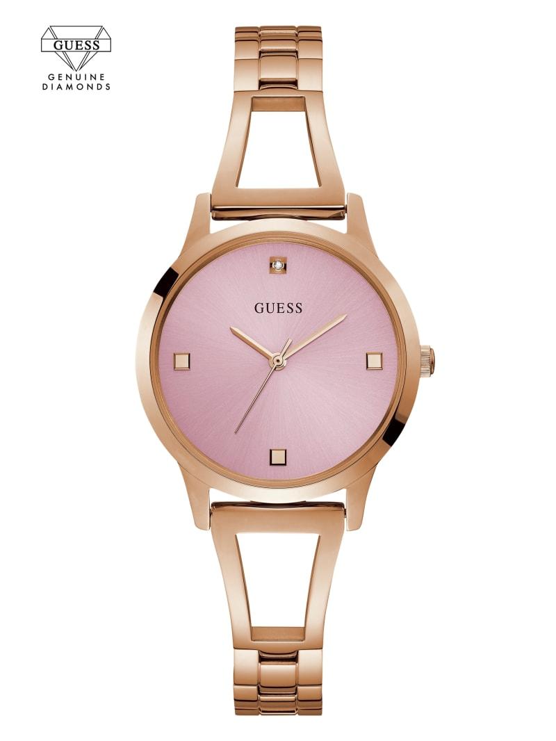 Rose Gold-Tone Petite Diamond Analog Watch
