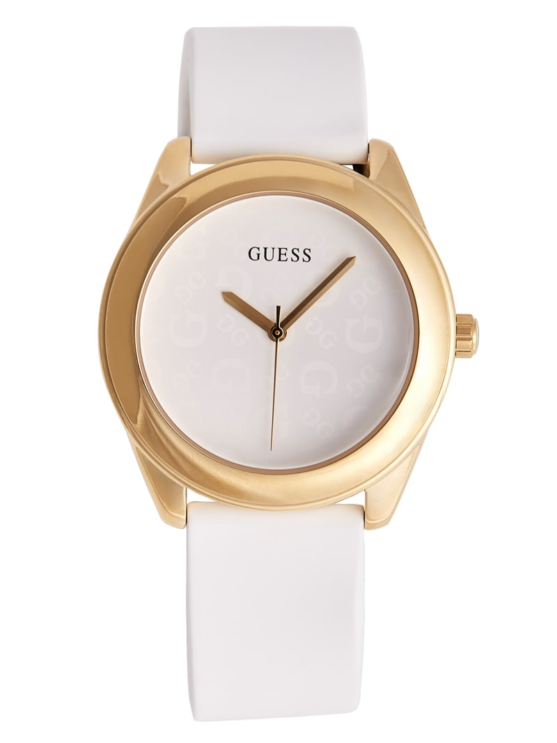 White and Gold-Tone Silicone Logo Watch