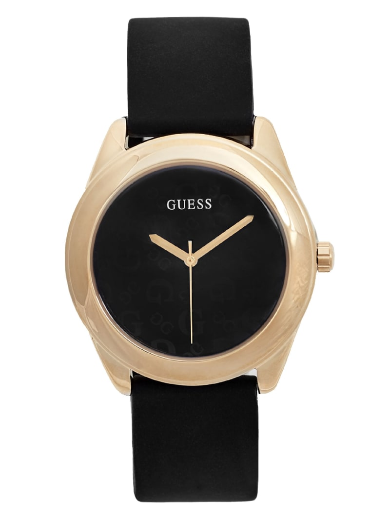 Black and Gold-Tone Silicone Logo Watch