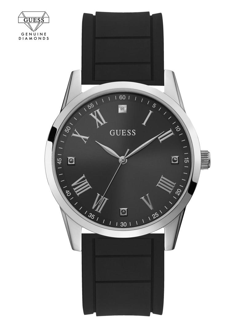 Silver-Tone Diamond Silicone Watch