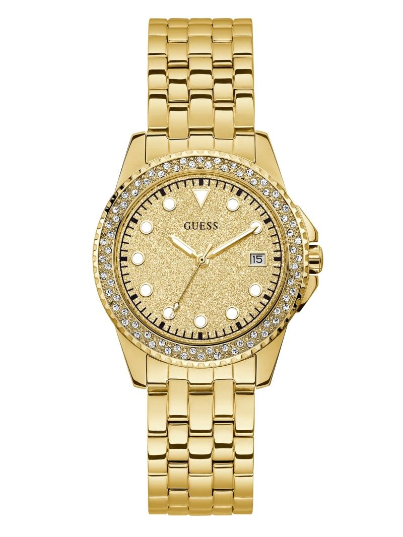 Gold-Tone Glitter Analog Watch