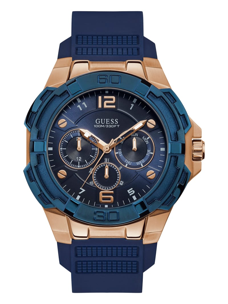 Navy and Rose Gold-Tone Chronograph Watch