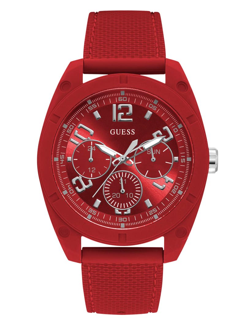 Red and Silver-Tone Multifunction Watch