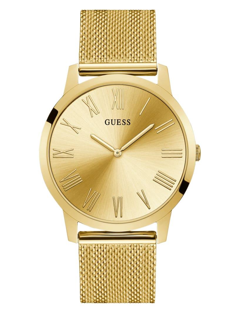 Gold-Tone Mesh Analog Watch