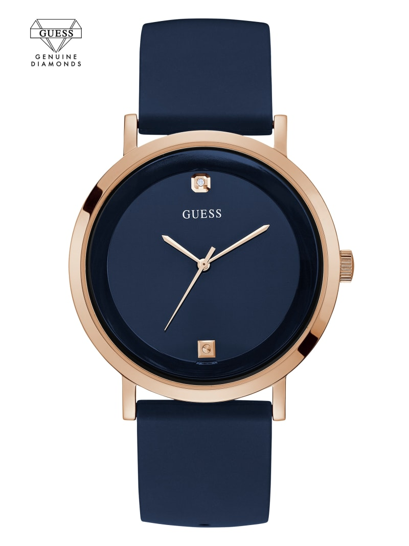 Navy and Rose Gold-Tone Analog Watch