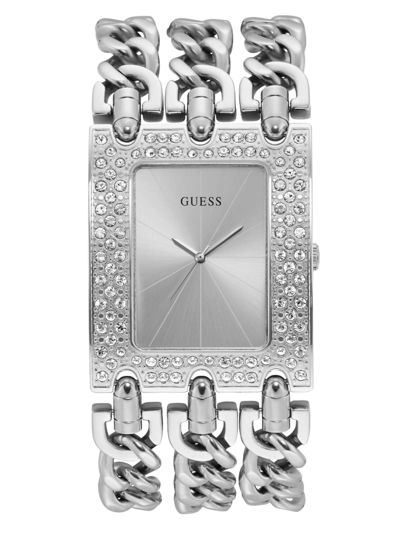 Silver-Tone Chain Analog Watch
