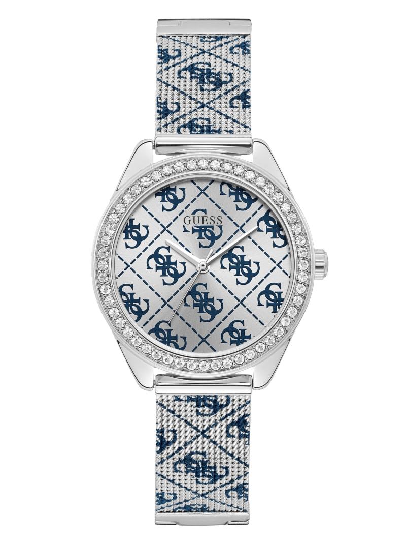 Silver-Tone Tiled Logo Analog Watch