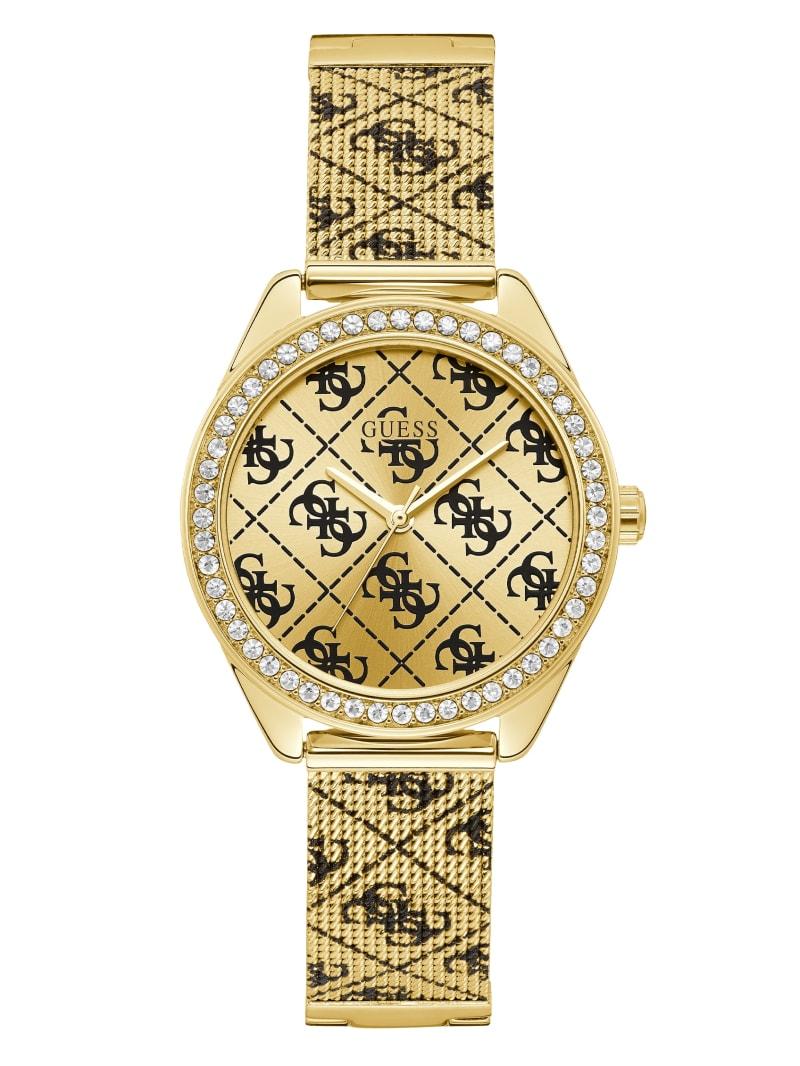 Gold-Tone Tiled Logo Analog Watch