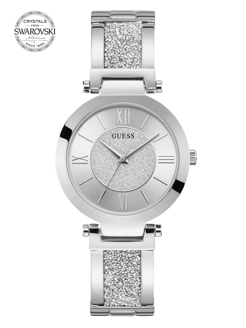 Silver-Tone Crystal Bangle Analog Watch