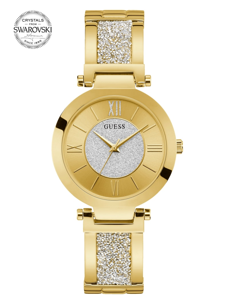 Gold-Tone Crystal Bangle Analog Watch