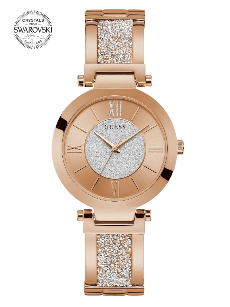 Rose Gold-Tone Crystal Bangle Analog Watch
