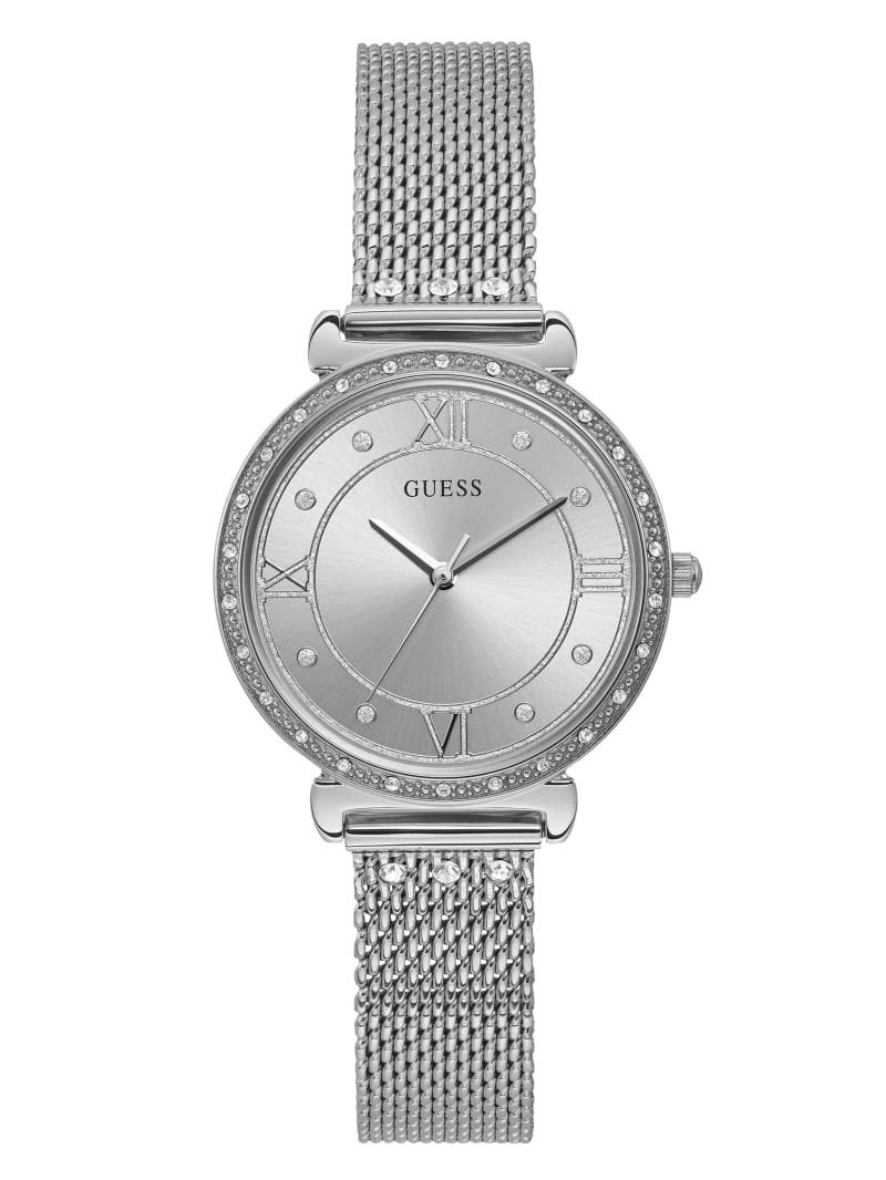 Silver-Tone Mesh And Crystal Analog Watch